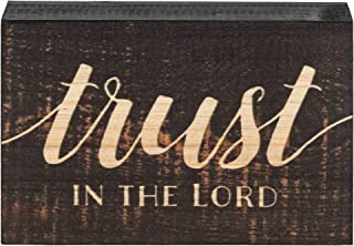 P. Graham Dunn Trust in The Lord Script Design Grey 4 x 5 Inch Solid Pine Wood Barnhouse Block Sign