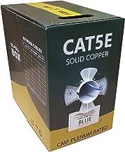 CAT5E PLENUM UTP SOLID COPPER 1000FT 350MHZ BULK 24AWG CMP NETWORK LAN CABLE BLUE