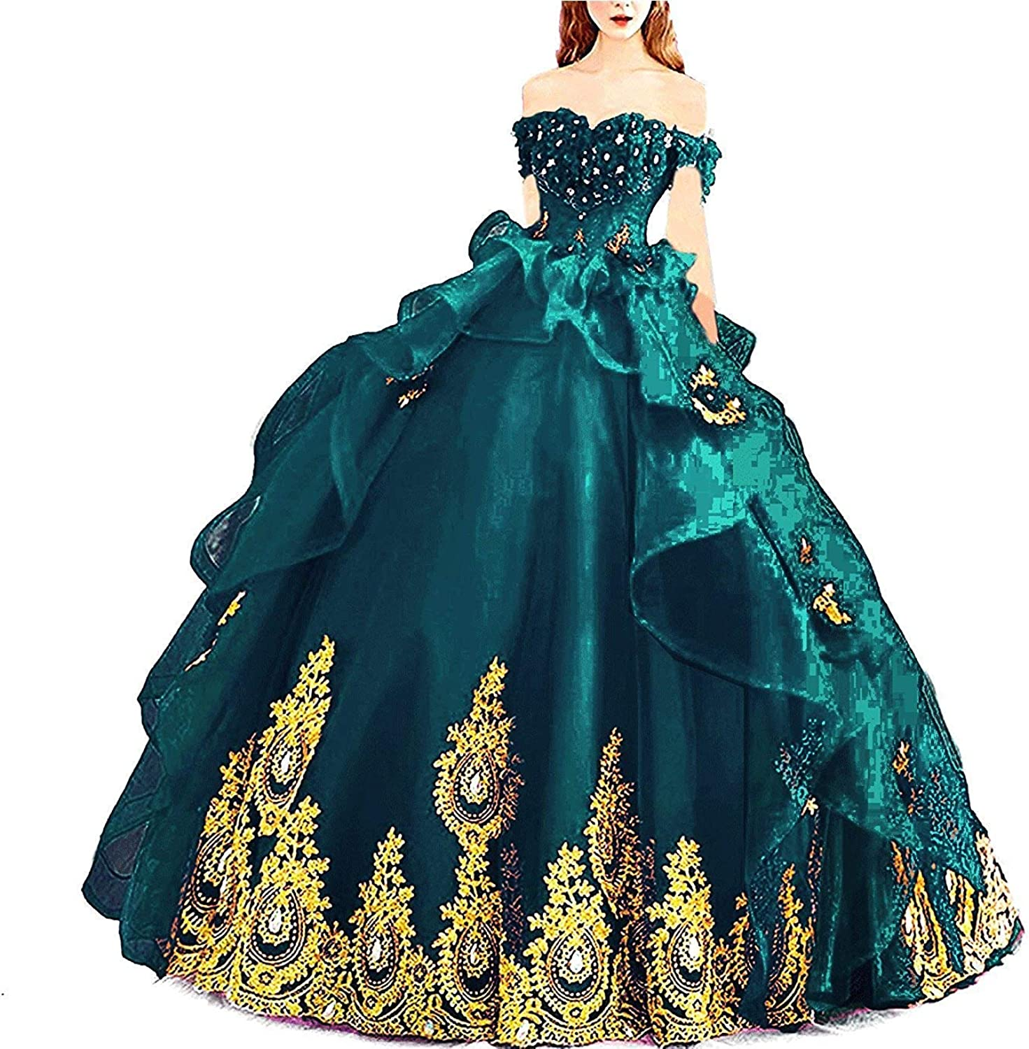 20KyleBird Gorgeous Off The Shoulder gold Appliques Quinceanera Dresses Beaded Organza Prom Evening Party Ball Gowns