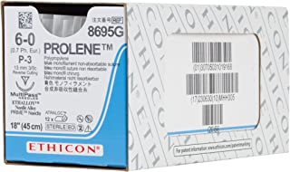 Ethicon PROLENE Polypropylene Suture, 8695G, Synthetic Non-absorbable, P-3 (13 mm), 3/8 Circle Needle, Size 6-0, 18'' (45 cm)