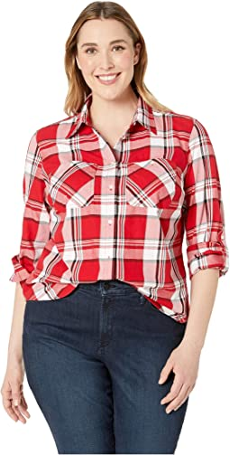 Plus Size Plaid Cotton-Twill Shirt