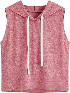 SweatyRocks Women's Summer Sleeveless Hooded Crop Tank Top T-Shirt
