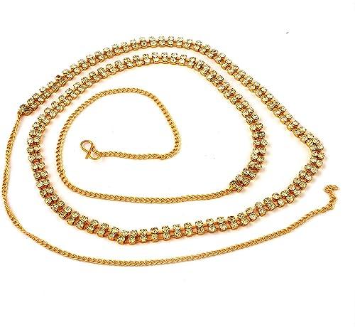 ACCESSHER 2 Line Stone White Brass Waist Hoop Waistbelt/Kamarband for Women