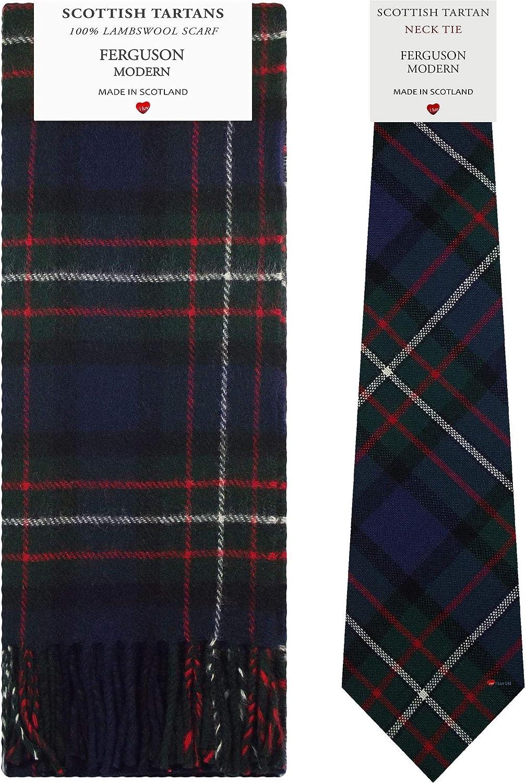Ferguson Modern Tartan Plaid 100% Lambswool Scarf & Tie Gift Set