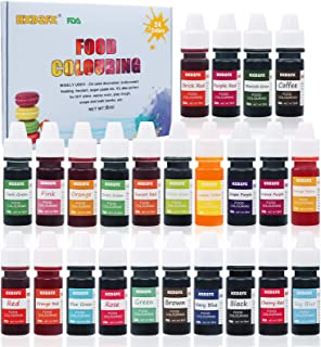 Food Coloring - 24 Color Rainbow Fondant Cake Food Coloring Set for Baking,Decorating,Icing and Cooking - neon Liquid Food...