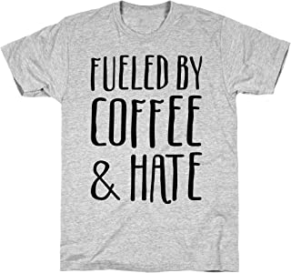 LookHUMAN Fueled by Coffee & Hate Athletic Gray Men`s Cotton Tee