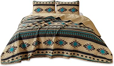 Chezmoi Collection 3-Piece Southwestern Geometric Tribal Multicolor Teal Beige Black Gray Queen Quilt Bedspread Set (100