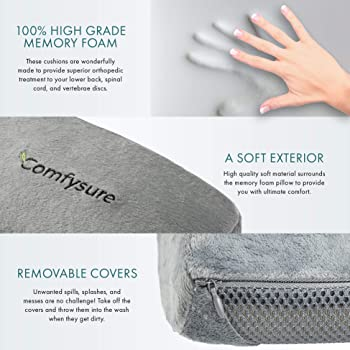 ComfySure 3 Piece Seat Cushion Set – Back Lumbar Support, Tailbone Coccyx Orthopedic Pain Relief, 2 Padded Armrest Co...