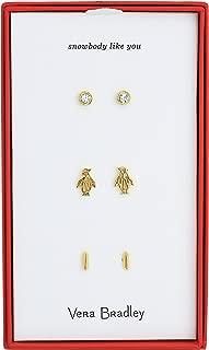 Womens Penguin Stud Earring Jewelry Set, Gold Tone