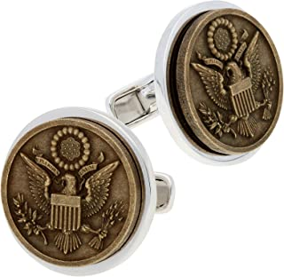 IBG Americana Sterling Silver and Bronze Patriot Great Seal of The United States Cuff Links
