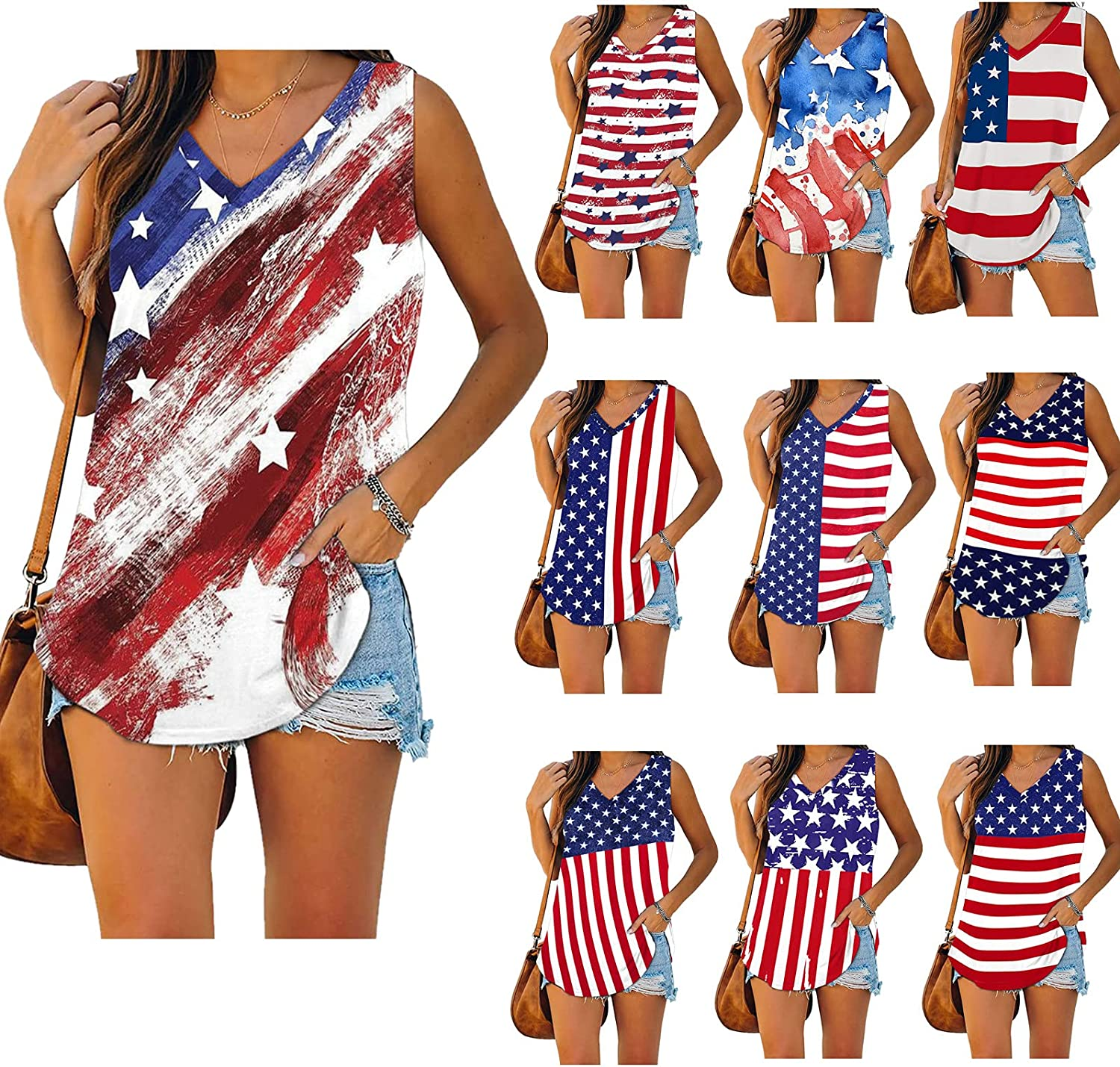 ORT 4th of July Tank Tops for Women, American Flag Graphic Patriotic Vest Loose Fit Women Tops Plus Size Sleeveless Shirts