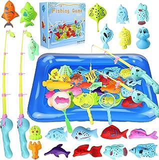 aovowog 48PCS Juguete de Baño Juego de Pesca Magnética,Juguetes Bañera Juguetes Piscina para Niños 3 4 5 6 Años,Juegos de ...