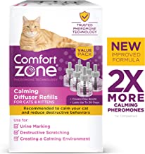 Comfort Zone Calming Diffuser Refill Only, New 2X Pheromones for Cats Formula 6 Pack