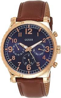 ساعة انالوج بعقارب جلد طبيعي دائرية كرونوجراف للرجال من جيس W1215G1 - بني