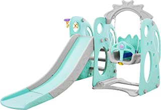 PlayEasy Climber and Swing Set Combination of Swing Slide Basketball Hoop Rabbit with Big Eyes Indoor Backyard Slide Playground 3-in-1 (Mint Green)