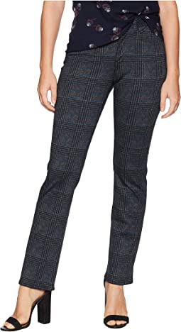 Petite Marilyn Straight in Plaid Ponte Black