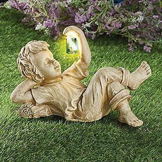 Jardin Sculptures, Ornements de Jardin de Résine, Accessoires Extérieurs Statue en Résine à Énergie Solaire, FigurineExtér...