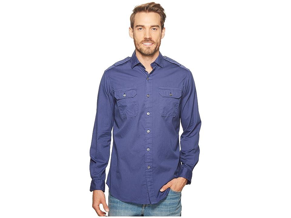 Polo Ralph Lauren Garment Dyed Chino Long Sleeve Sport Shirt (New Classic Navy) Men
