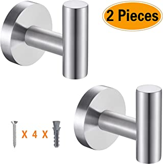 Topspeeder 2 Pcs Bathroom Towel Hooks, Coat/Robe Clothes Hooks, SUS 304 Stainless Steel Wall Hook Heavy Duty for Bedroom,Kitchen,Restroom,Bathroom,Hotel,Brushed Nickel and Wall Mounted (Silver)