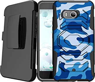MINITURTLE Compatible with HTC U11   HTC Ocean 2017 Holster Case [Armor Reloaded] Crave Pulse Belt Clip Shock Absorbing Hard Case w/Stand Blue Camo