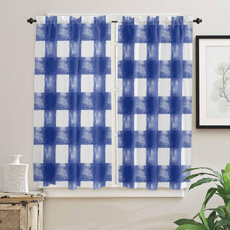 Watercolor Blue Credence Sky Buffalo Lattice 63 Kitchen Curtains Inch Kansas City Mall Len