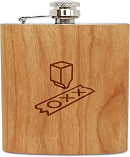 WOODEN ACCESSORIES COMPANY Cherry Wood Flask With Stainless Steel Body - Laser Engraved Flask With Turing Machine Design - 6 Oz Wood Hip Flask Handmade In USA