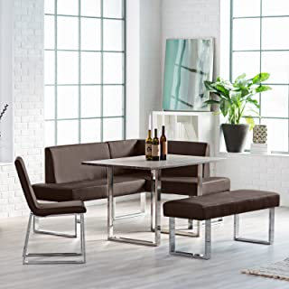 Kitchen Nook Dining Set with Bench Chair Table with Chrome Legs Seats up to 6 People Fresh Modern Breakfast Loft Area Plus