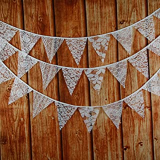 INFEI 3M/9.8Ft Mixed White Lace Fabric Flags Bunting Banner Garlands for Wedding, Birthday Party, Outdoor & Home Decoration (White)