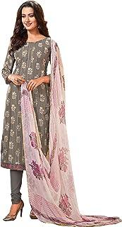 Rajnandini Women's Grey Modal Silk Printed Semi-Stitched Salwar Suit Material
