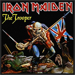 Iron Maiden Patch The Trooper Band Logo Official Black Woven (10Cm X 10Cm)
