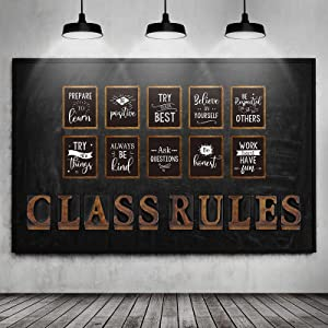 20 Pieces Classroom Bulletin Board Posters Class Rules Letter Motivational Quote Wall Poster Set Class Inspirational Decors Rustic Chic Poster Decoration for School Social Studies Party Supplies