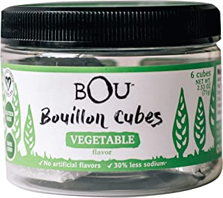 BOU Vegetable Flavored Bouillon Cubes, Pack of Six (6) 2.53 Ounce Containers Packed with Natural, Traditional Ingredients, Vegan, Gluten-Free