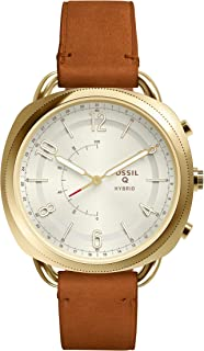 Fossil Women's Accomplice Stainless Steel and Leather Hybrid Smartwatch, Color: Gold, Tan (Model: FTW1201)