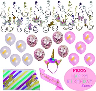 Unicorn Birthday Decorations for Girls, Party Rainbow Decor for a Magical Celebration- Set Including Hanging Swirl, Headband & Pink Satin Stash, Tablecloth and Balloons with FREE Happy Birthday Banner