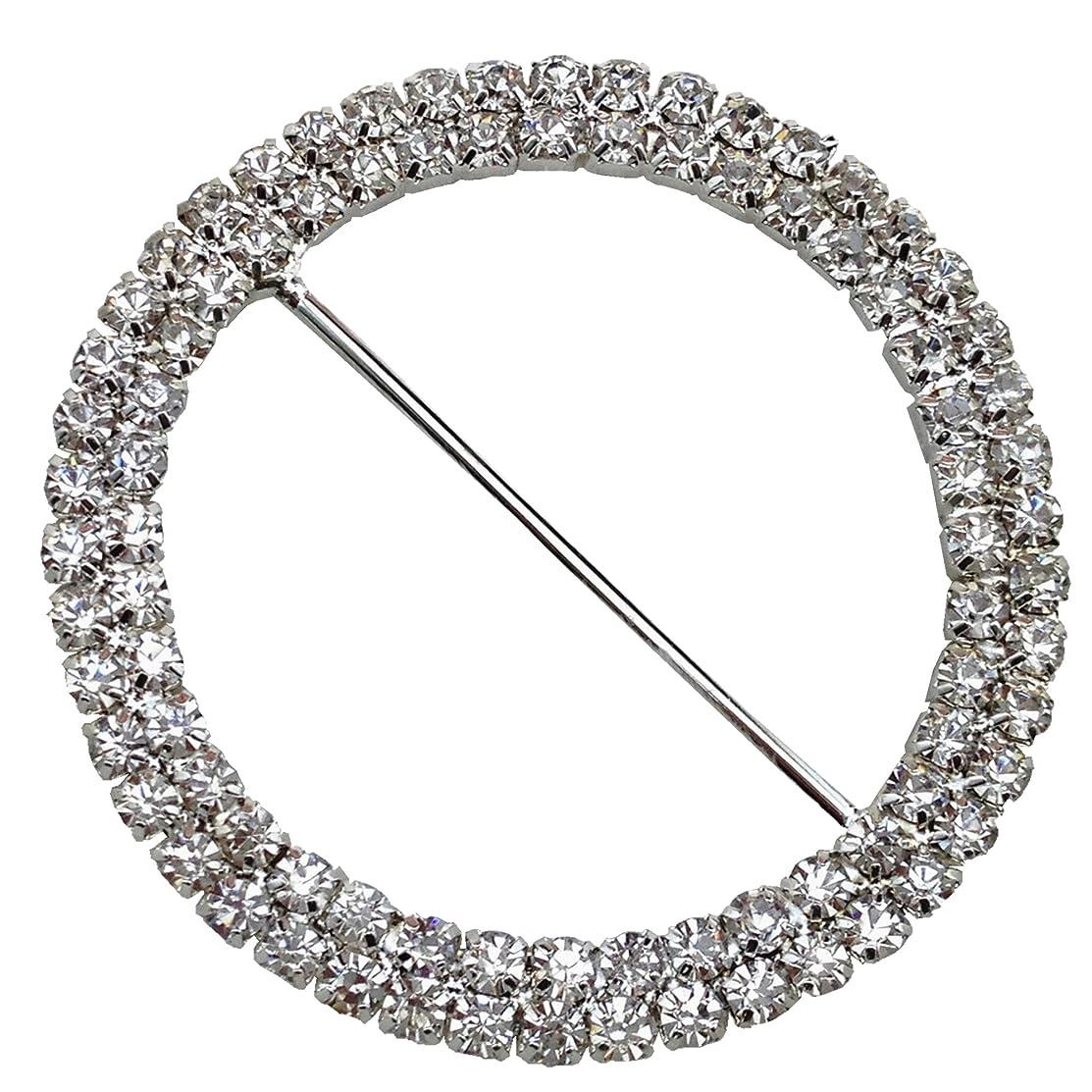 10 Pieces 2 inches Diameter 2 Rows Round Rhinestone Buckle Invitation Ribbon Slider Wedding Supply Gift Wrap Hairbow Center