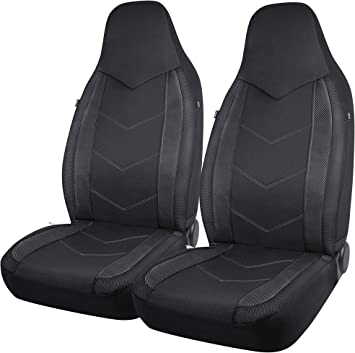 PIC AUTO High Back Car Seat Covers - Sports Carbon Fiber Mesh Design, Universal Fit, Airbag Compatible (Black): image