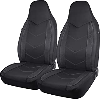 PIC AUTO High Back Car Seat Covers - Sports Carbon Fiber Mesh Design, Universal Fit, Airbag Compatible (Black)