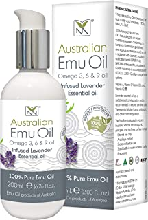 Y-Not Natural- Organic Pharmaceutical 100% Pure Emu Oil 200ml   Free Range Aboriginal Omega 3, 6 & 9 Oil Infused w/Lavender for Hypoallergenic Skin Care, Hair & Healing   Natural Source of Vitamin K2
