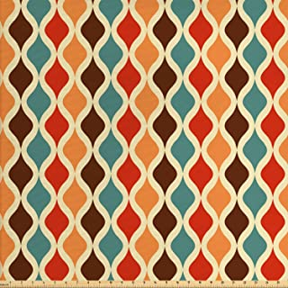Ambesonne Retro Fabric by The Yard, Funk Different Vintage Pattern Composition with Geometric Forms Simplistic Artwork, Decorative Fabric for Upholstery and Home Accents, 2 Yards, Cream Chocolate