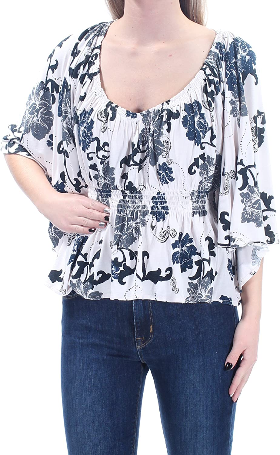 Free People Womens Floral Print Angel Sleeves Blouse Ivory XS
