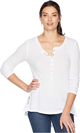 Heathered Rayon Waffle Snap Front Top