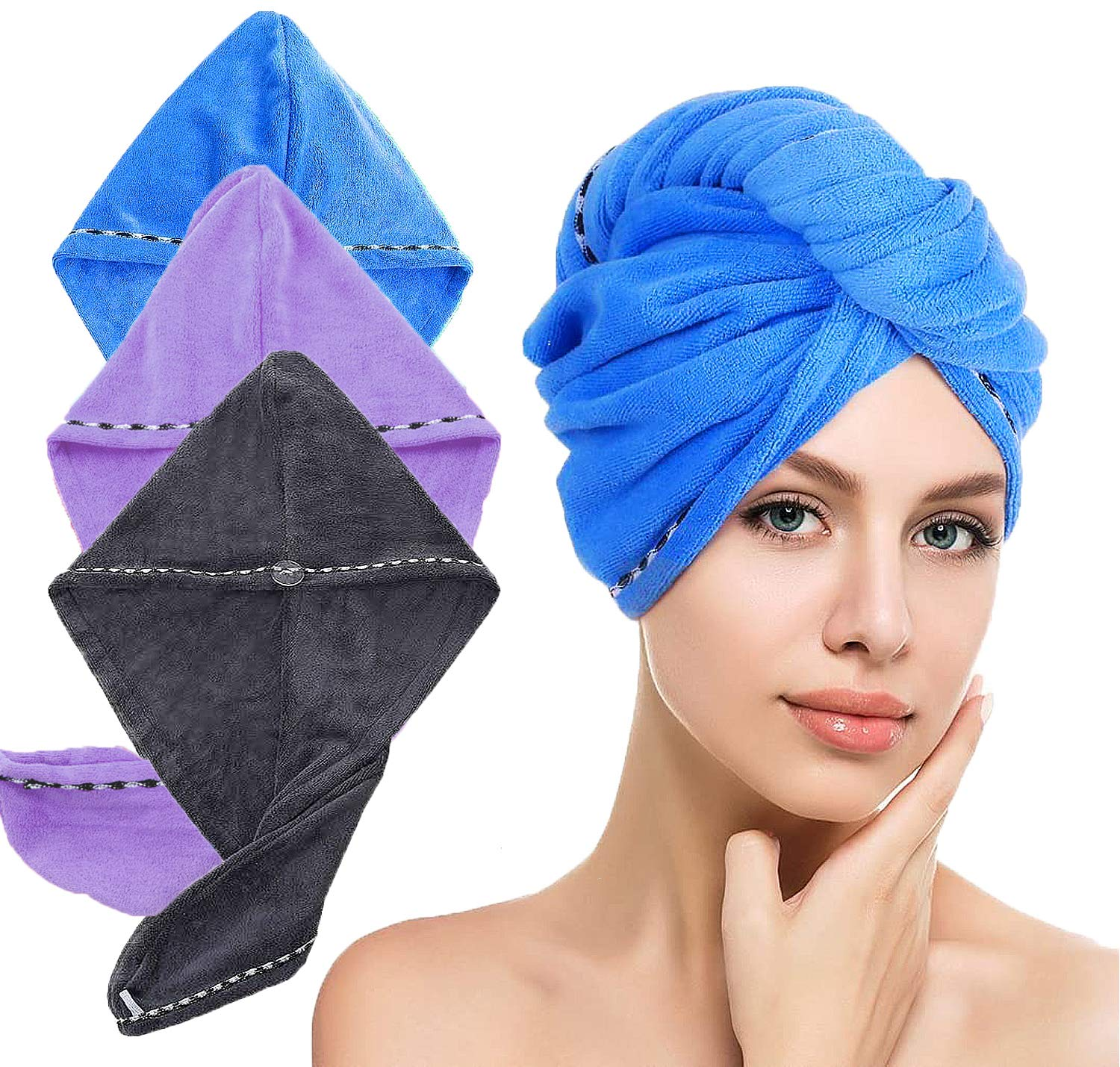 LayYun Super beauty product restock quality top Hair Towel Wrap for Women Absorbe Pcs Microfiber Easy-to-use 3