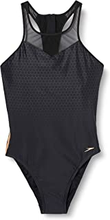Speedo Women's Mesh Panel 1 Piece Swimsuit, Black/USA Charcoal/Rose Gold, 30 (UK 8)