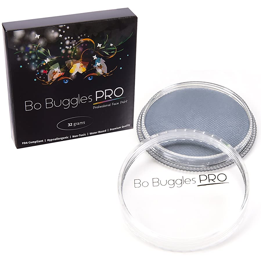 Face Paint 32 Grams Light Gray   Classic Colors by Bo Buggles Professional   Water Activated