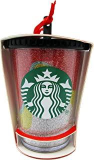 Starbucks 2018 Glitter Acrylic Cup Holiday Christmas Tree Ornament