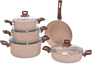 Alberto Granite 9Pcs Cookware Brownstone Color, 100076459