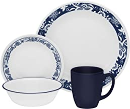 Corelle 3567 Livingware True Blue 16-pc Dinnerware Set, White