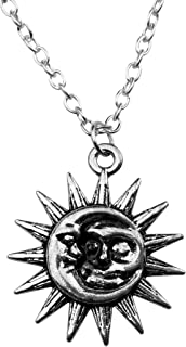 Art Attack Silvertone Sun Woman in The Moon Galaxy Crescent Celestial Pendant Necklace