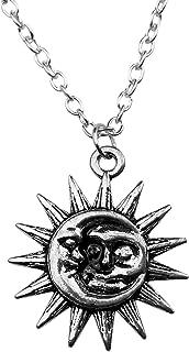 Art Attack Silvertone Sun Woman in The Moon Galaxy Crescent Celestial Pendant Necklace