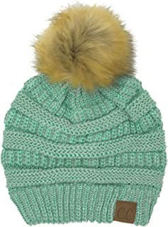 CC Fur Pom Winter Fall Trendy Chunky Stretchy Cable Knit Beanie Hat